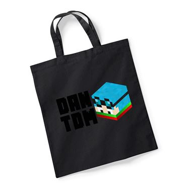 Picture of Dantdm Dan The Diamond Minecart Christmas Player Skin 3D Head Left Pose And Black Text Reusable Bag For Life