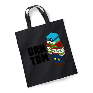 Picture of Dantdm Dan The Diamond Minecart Christmas Player Skin 3D Standing Left Pose And Black Text Reusable Bag For Life
