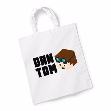 Picture of Dantdm Dan The Diamond Minecart Player Skin 3D Head Left Pose And Black Text Reusable Bag For Life