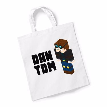 Picture of Dantdm Dan The Diamond Minecart Player Skin 3D Standing Left Pose And Black Text Reusable Bag For Life