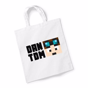 Picture of Dantdm Dan The Diamond Minecart Player Skin Face And Black Text Reusable Bag For Life