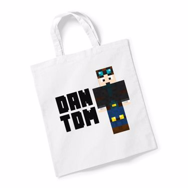 Picture of Dantdm Dan The Diamond Minecart Player Skin Standing Pose And Black Text Reusable Bag For Life