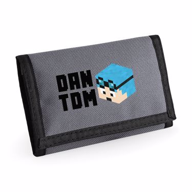 Picture of Dantdm Dan The Diamond Minecart Blue Hair Player Skin 3D Head Left Pose And Black Text Ripper Wallet