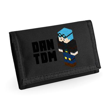 Picture of Dantdm Dan The Diamond Minecart Blue Hair Player Skin 3D Standing Left Pose And Black Text Ripper Wallet