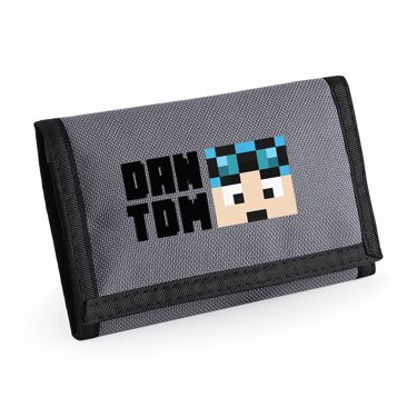 Picture of Dantdm Dan The Diamond Minecart Blue Hair Player Skin Face And Black Text Ripper Wallet