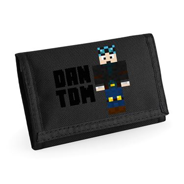 Picture of Dantdm Dan The Diamond Minecart Blue Hair Player Skin Standing Pose And Black Text Ripper Wallet