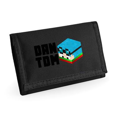 Picture of Dantdm Dan The Diamond Minecart Christmas Player Skin 3D Head Left Pose And Black Text Ripper Wallet
