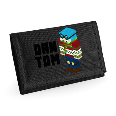 Picture of Dantdm Dan The Diamond Minecart Christmas Player Skin 3D Standing Left Pose And Black Text Ripper Wallet