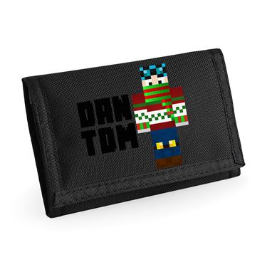 Picture of Dantdm Dan The Diamond Minecart Christmas Player Skin Standing Pose And Black Text Ripper Wallet