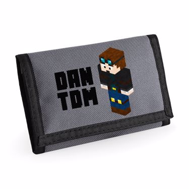 Picture of Dantdm Dan The Diamond Minecart Player Skin 3D Standing Left Pose And Black Text Ripper Wallet