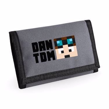 Picture of Dantdm Dan The Diamond Minecart Player Skin Face And Black Text Ripper Wallet