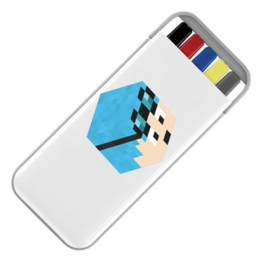 Picture of Dantdm Dan The Diamond Minecart Blue Hair Player Skin 3D Head Right Pose Stationery Set