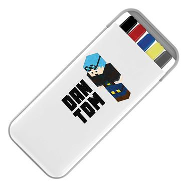 Picture of Dantdm Dan The Diamond Minecart Blue Hair Player Skin 3D Standing Left Pose And Black Text Stationery Set