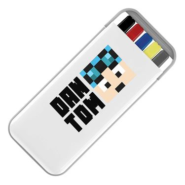 Picture of Dantdm Dan The Diamond Minecart Blue Hair Player Skin Face And Black Text Stationery Set