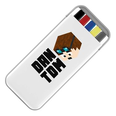 Picture of Dantdm Dan The Diamond Minecart Player Skin 3D Head Left Pose And Black Text Stationery Set