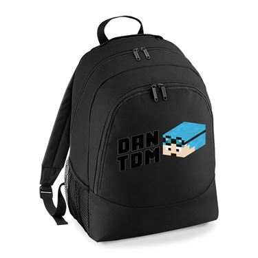 Picture of Dantdm Dan The Diamond Minecart Blue Hair Player Skin 3D Head Left Pose And Black Text Universal Backpack