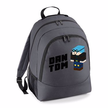 Picture of Dantdm Dan The Diamond Minecart Blue Hair Player Skin 3D Standing Left Pose And Black Text Universal Backpack