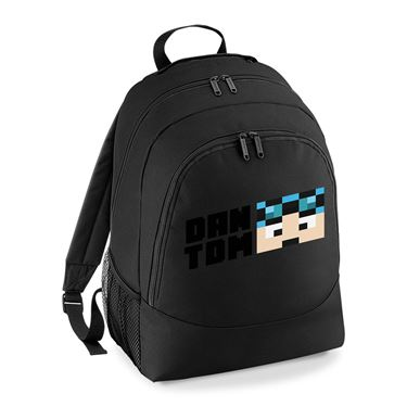 Picture of Dantdm Dan The Diamond Minecart Blue Hair Player Skin Face And Black Text Universal Backpack