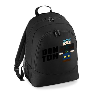 Picture of Dantdm Dan The Diamond Minecart Blue Hair Player Skin Standing Pose And Black Text Universal Backpack