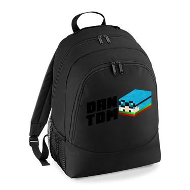 Picture of Dantdm Dan The Diamond Minecart Christmas Player Skin 3D Head Left Pose And Black Text Universal Backpack