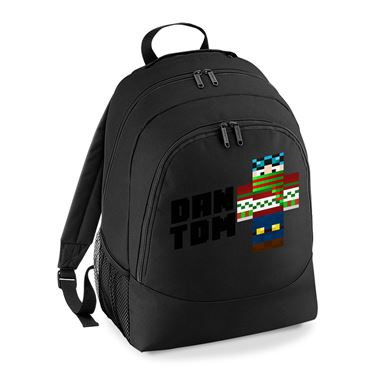Picture of Dantdm Dan The Diamond Minecart Christmas Player Skin Standing Pose And Black Text Universal Backpack