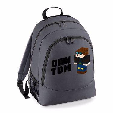 Picture of Dantdm Dan The Diamond Minecart Player Skin 3D Standing Left Pose And Black Text Universal Backpack