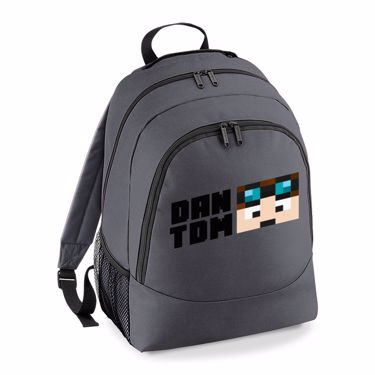 Picture of Dantdm Dan The Diamond Minecart Player Skin Face And Black Text Universal Backpack