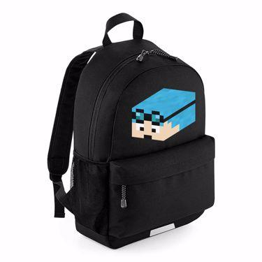 Picture of Dantdm Dan The Diamond Minecart Blue Hair Player Skin 3D Head Left Pose School Backpack