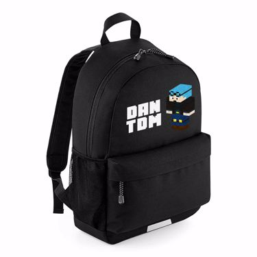 Picture of Dantdm Dan The Diamond Minecart Blue Hair Player Skin 3D Standing Left Pose And White Text School Backpack