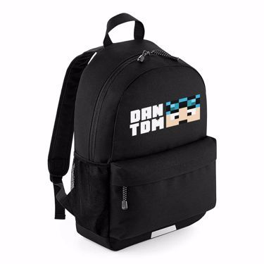 Picture of Dantdm Dan The Diamond Minecart Blue Hair Player Skin Face And White Text School Backpack