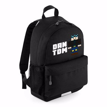 Picture of Dantdm Dan The Diamond Minecart Blue Hair Player Skin Standing Pose And White Text School Backpack