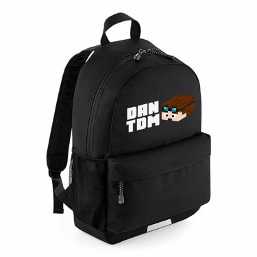 Picture of Dantdm Dan The Diamond Minecart Player Skin 3D Head Left Pose And White Text School Backpack
