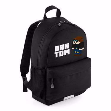 Picture of Dantdm Dan The Diamond Minecart Player Skin 3D Standing Left Pose And White Text School Backpack