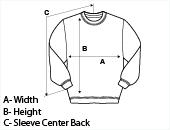 Mens Crew Neck Sweatshirt Size Guide